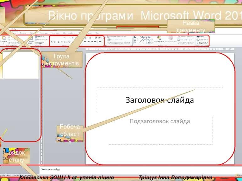 Вікно програми Microsoft Word 2013 Назва документу вкладки Група інструментів...