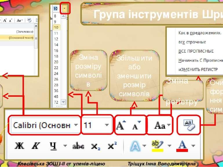 Група інструментів Шрифт Тріщук Інна Володимирівна Клесівська ЗОШ I-II ступен...