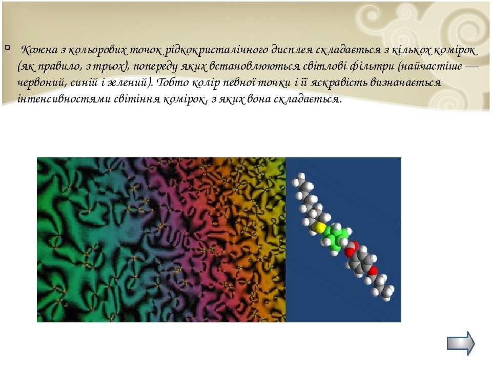 Кожна з кольорових точок рідкокристалічного дисплея складається з кількох ком...