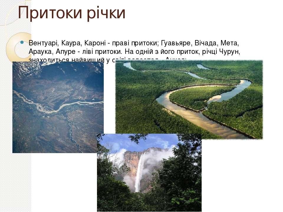 Притоки річки Вентуарі, Каура, Кароні - праві притоки; Гуавьяре, Вічада, Мета...