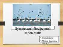 Підготувала: Мисюк Вероніка ШКВ-21 Дунайський біосферний заповідник