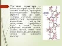 Третинна структура — повна просторова будова цілої білкової молекули, простор...
