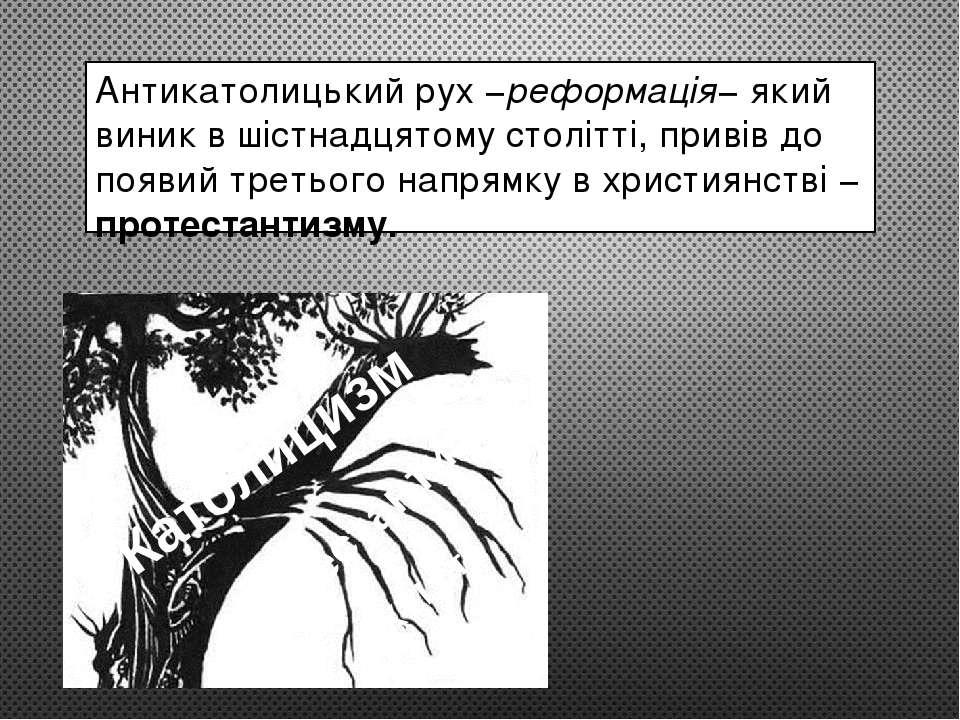 Антикатолицький рух −реформація− який виник в шістнадцятому столітті, привів ...
