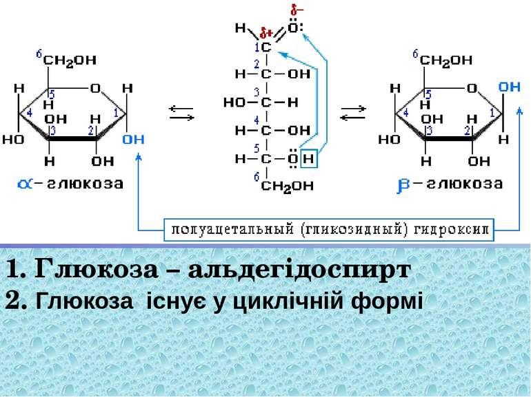 1. Глюкоза – альдегідоспирт 2. Глюкоза існує у циклічній формі