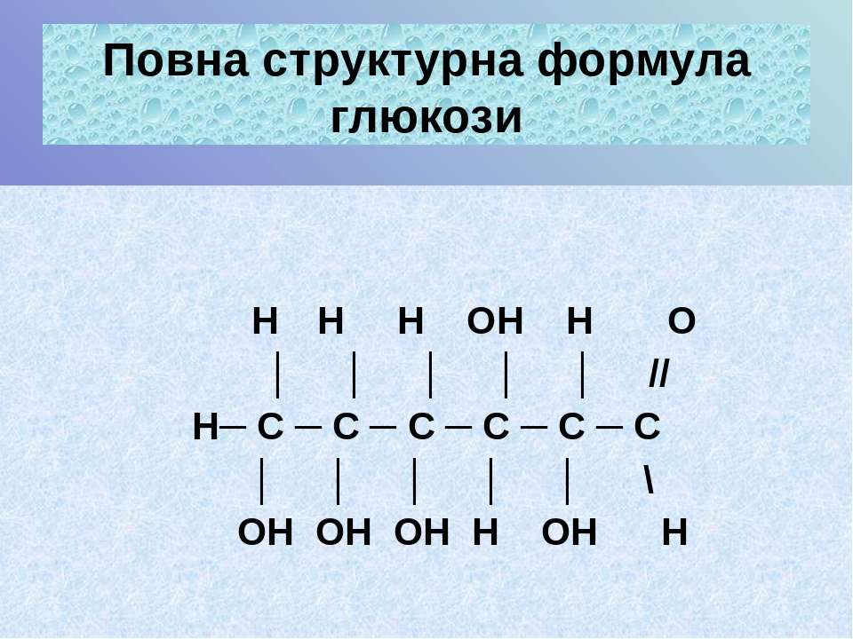 Повна структурна формула глюкози Н Н Н ОН Н О │ │ │ │ │ // Н─ С ─ С ─ С ─ С ─...