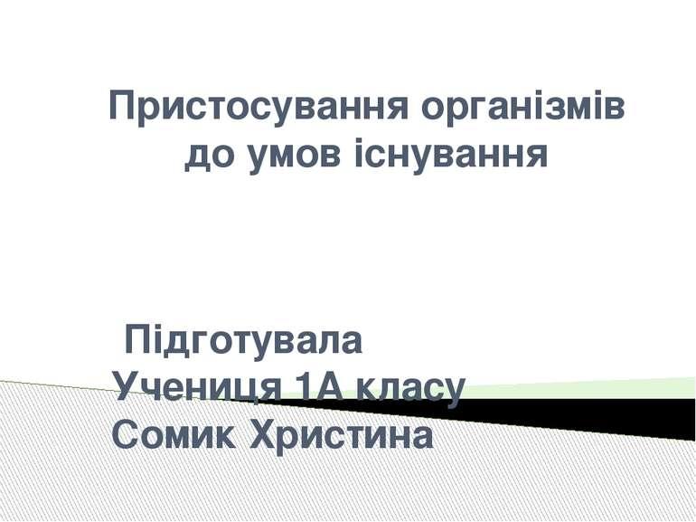 Пристосування організмів до умов існування Підготувала Учениця 1А класу Сомик...