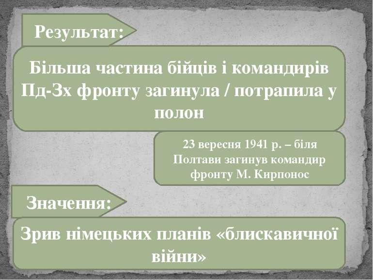 Більша частина бійців і командирів Пд-Зх фронту загинула / потрапила у полон ...