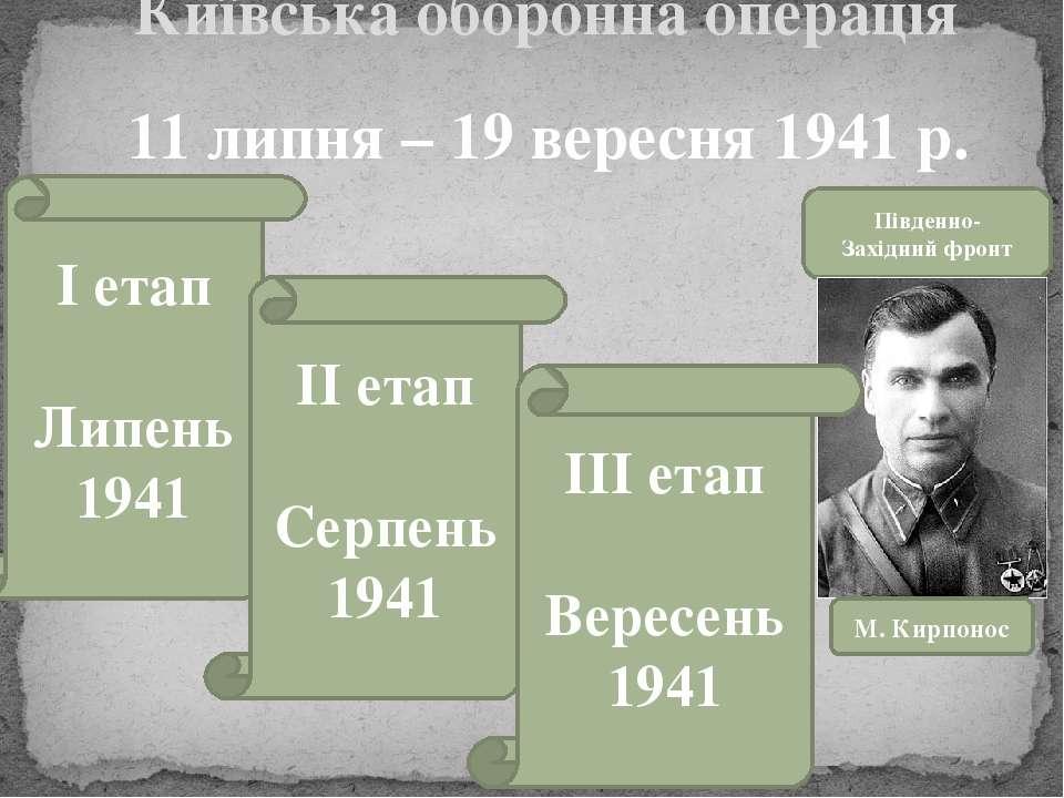 Київська оборонна операція 11 липня – 19 вересня 1941 р. Південно- Західний ф...