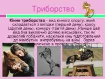 Триборство Кінне триборство - вид кінного спорту, який складається з виїздки ...