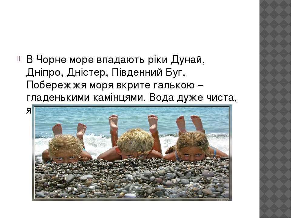 В Чорне море впадають ріки Дунай, Дніпро, Дністер, Південний Буг. Побережжя м...