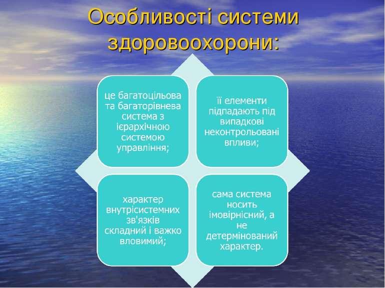 Особливості системи здоровоохорони: