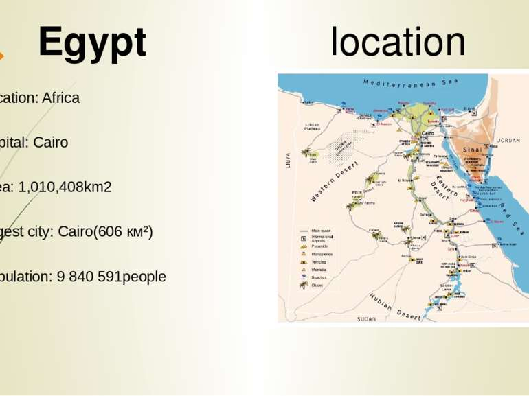 Location: Africa Capital: Cairo Area: 1,010,408km2 largest city: Cairo(606 ...