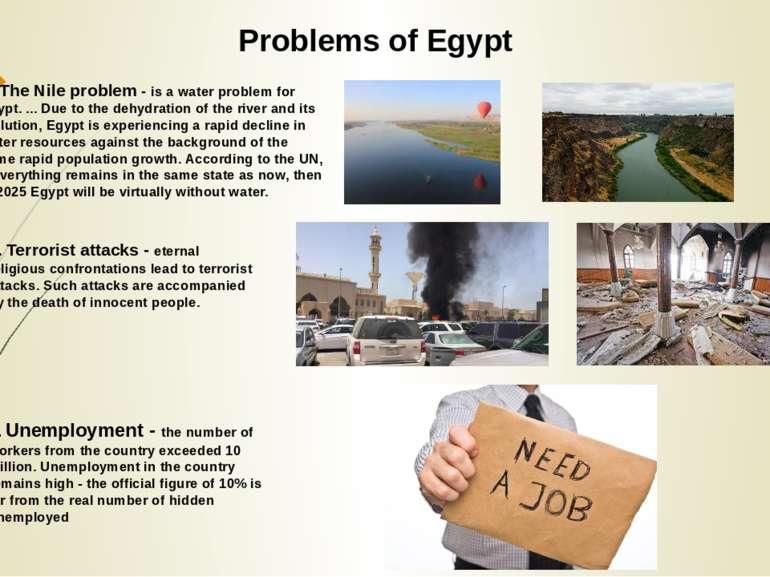 Problems of Egypt 2. Terrorist attacks - eternal religious confrontations lea...