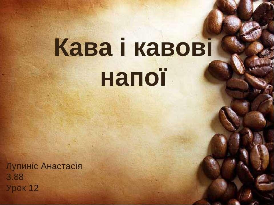Кава і кавові напої Лупиніс Анастасія 3.88 Урок 12