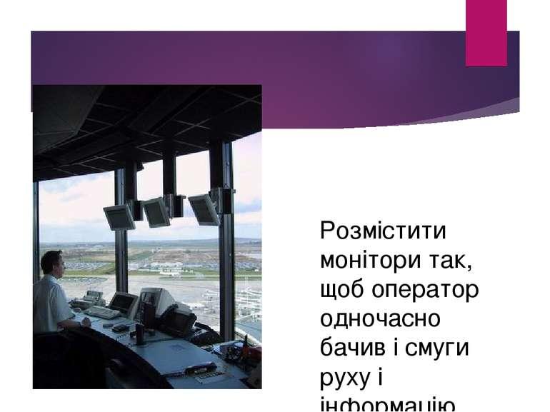Розмістити монітори так, щоб оператор одночасно бачив і смуги руху і інформацію