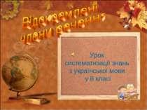 Урок систематизації знань з української мови у 8 класі
