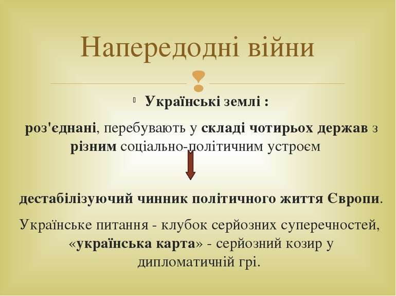 Напередодні війни Українські землі : роз'єднані, перебувають у складі чотирьо...