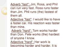 "Adverb ""fast"": Jim, Rosa, and Phil can run very fast. Rosa runs faster than J..."