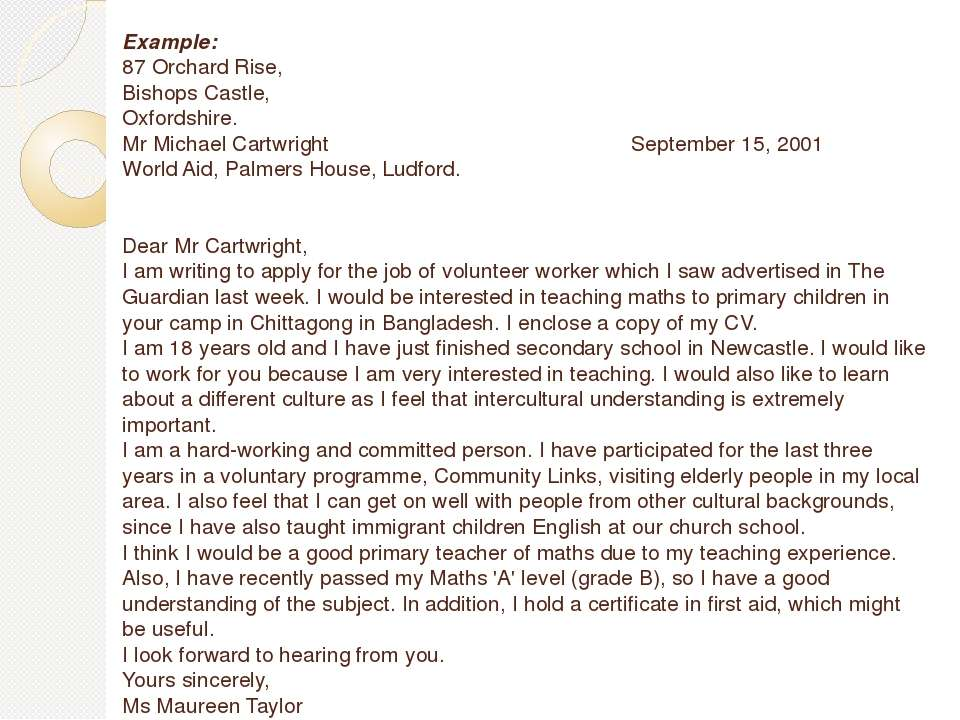 Example: 87 Orchard Rise, Bishops Castle, Oxfordshire. Mr Michael Cartwright...