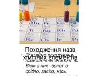 Походження назв хімічних елементів Згадаймо походження назв хімічних елементі...