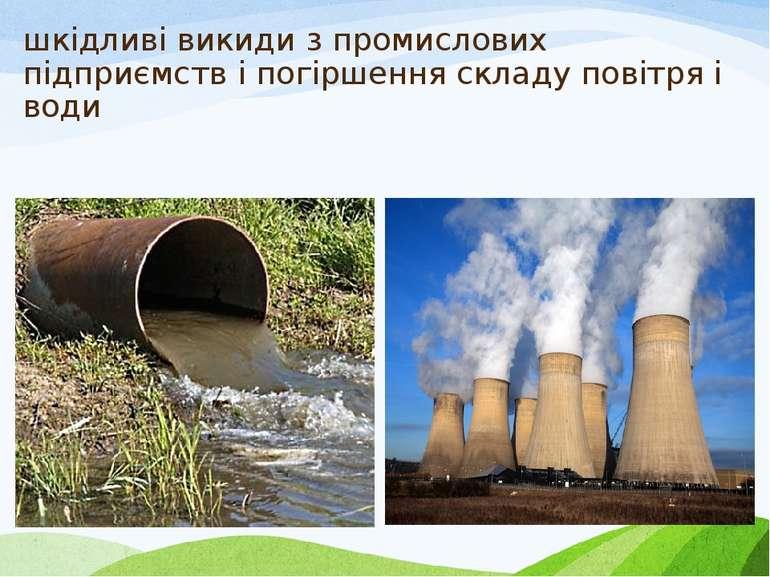 шкідливі викиди з промислових підприємств і погіршення складу повітря і води