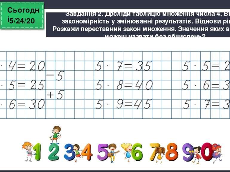Сьогодні Завдання 2. Досліди таблицю множення числа 4. Визнач закономірність ...