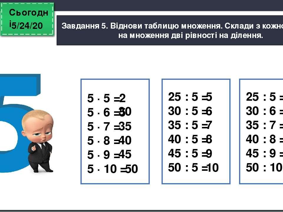 Сьогодні Завдання 5. Віднови таблицю множення. Склади з кожної рівності на мн...