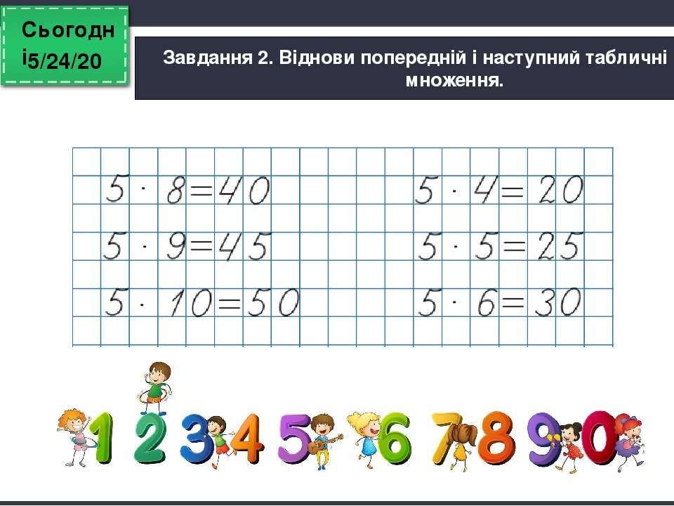 Сьогодні Завдання 2. Віднови попередній і наступний табличні випадки множення...