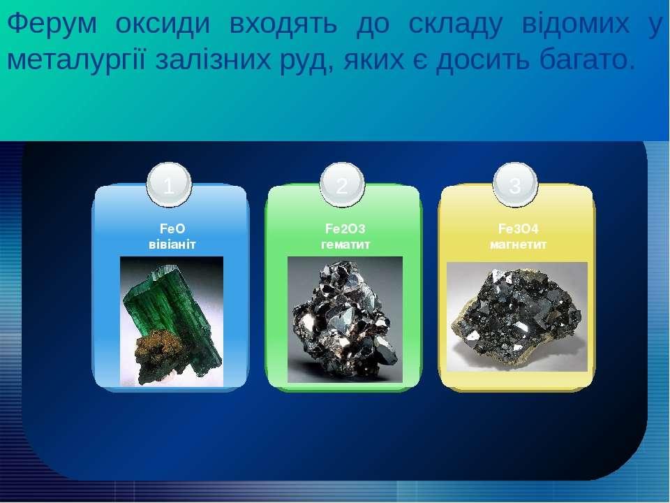Ферум оксиди входять до складу відомих у металургії залізних руд, яких є доси...