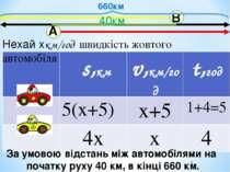 660км За умовою відстань між автомобілями на початку руху 40 км, в кінці 660 ...