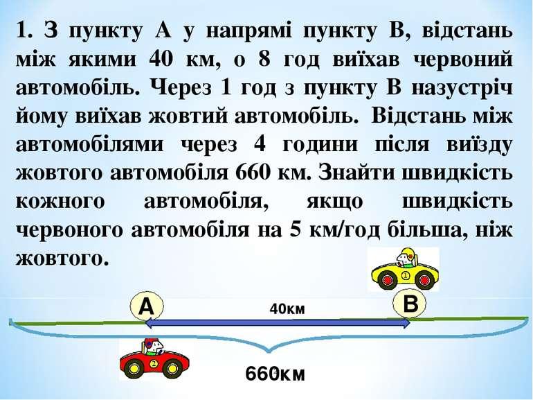 1. З пункту А у напрямі пункту В, відстань між якими 40 км, о 8 год виїхав че...