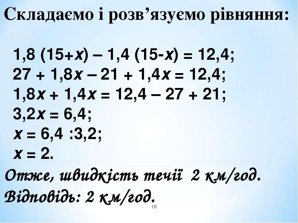Складаємо і розв'язуємо рівняння: 1,8 (15+х) – 1,4 (15-х) = 12,4; 27 + 1,8х –...