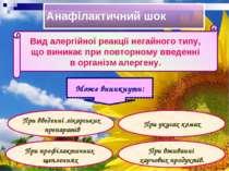 Анафілактичний шок Вид алергійної реакції негайного типу, що виникає при повт...