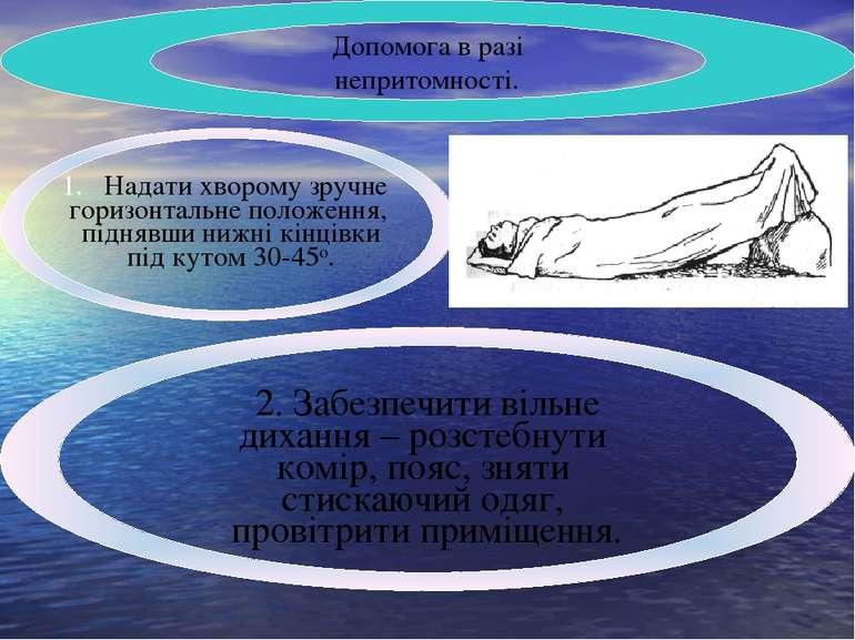 Допомога в разі непритомності. Надати хворому зручне горизонтальне положення,...