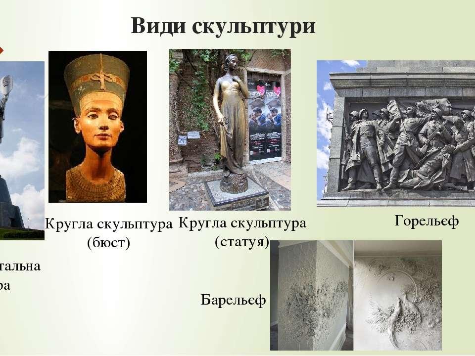 Види скульптури Кругла скульптура (бюст) Кругла скульптура (статуя) Горельєф ...