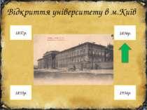 Відкриття університету в м.Київ 1834р. 1837р. 1934р. 1835р.