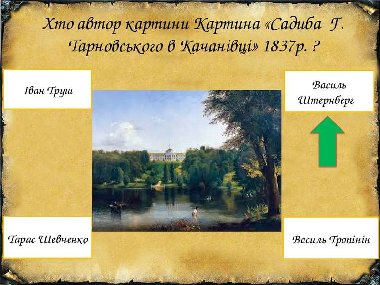 Хто автор картини Картина «Садиба Г. Тарновського в Качанівці» 1837р. ? Тарас...