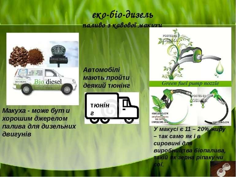 еко-біо-дизель паливо з кавової макухи тюнінг Макуха - може бут и хорошим дже...