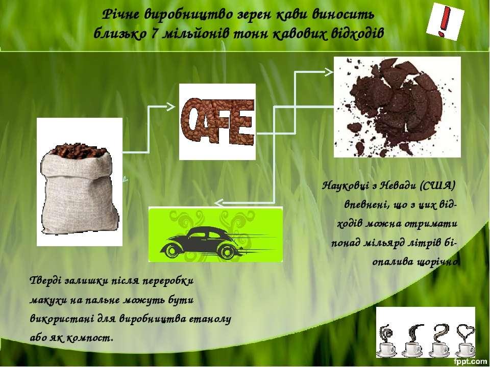 Річне виробництво зерен кави виносить близько 7 мільйонів тонн кавових відход...