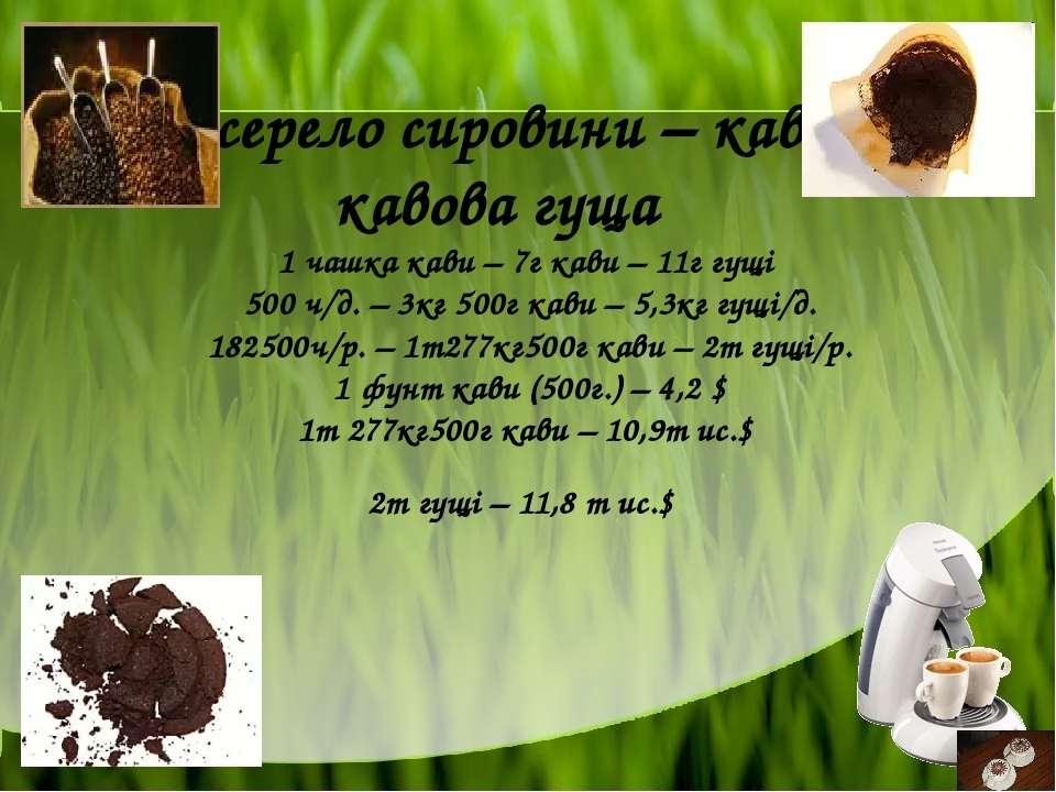Джерело сировини – кава та кавова гуща 1 чашка кави – 7г кави – 11г гущі 500 ...