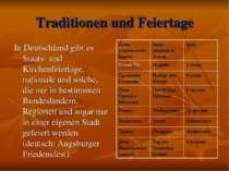 Traditionen und Feiertage In Deutschland gibt es Staats- und Kirchenfeiertage...