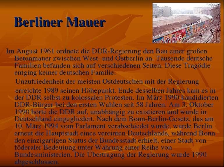 Berliner Mauer Im August 1961 ordnete die DDR-Regierung den Bau einer großen ...