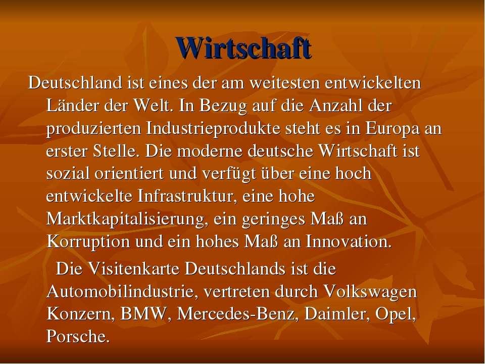 Wirtschaft Deutschland ist eines der am weitesten entwickelten Länder der Wel...