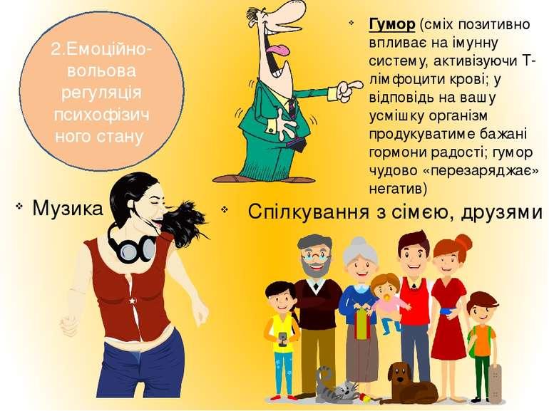 2.Емоційно-вольова регуляція психофізичного стану Гумор (сміх позитивно вплив...