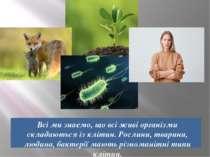 Всі ми знаємо, що всі живі організми складаються із клітин. Рослини, тварини,...