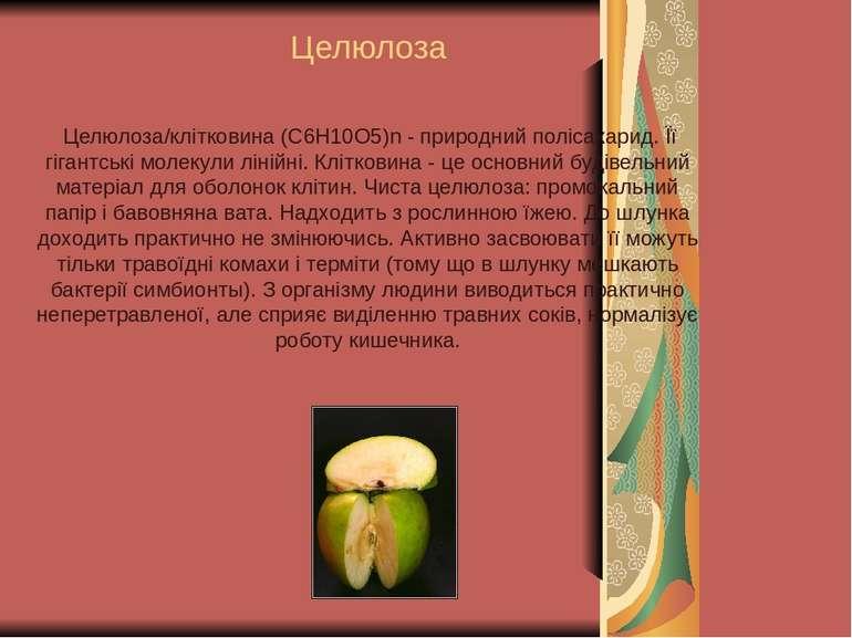 Целюлоза Целюлоза/клітковина (C6H10O5)n - природний полісахарид. Її гігантськ...