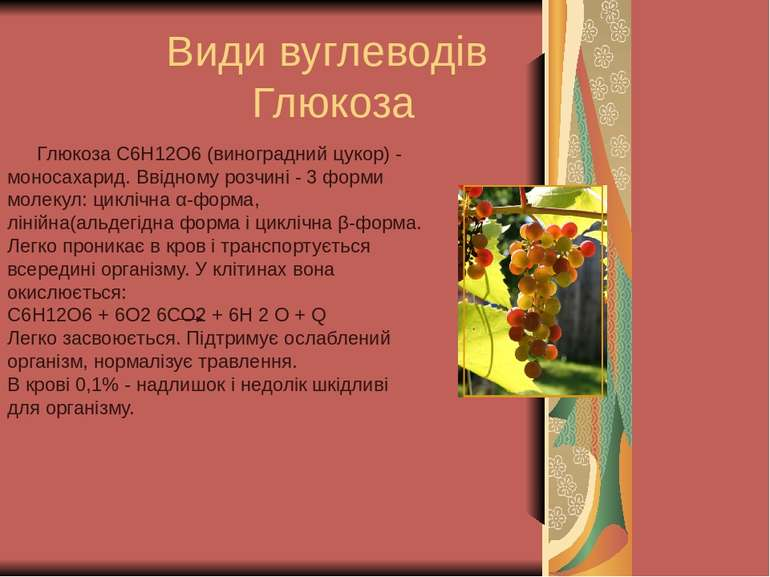 Види вуглеводів Глюкоза Глюкоза C6H12O6 (виноградний цукор) - моносахарид. Вв...