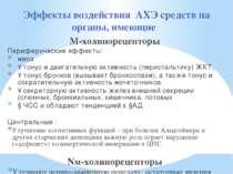 Эффекты воздействия АХЭ средств на органы, имеющие М-холинорецепторы Перифери...