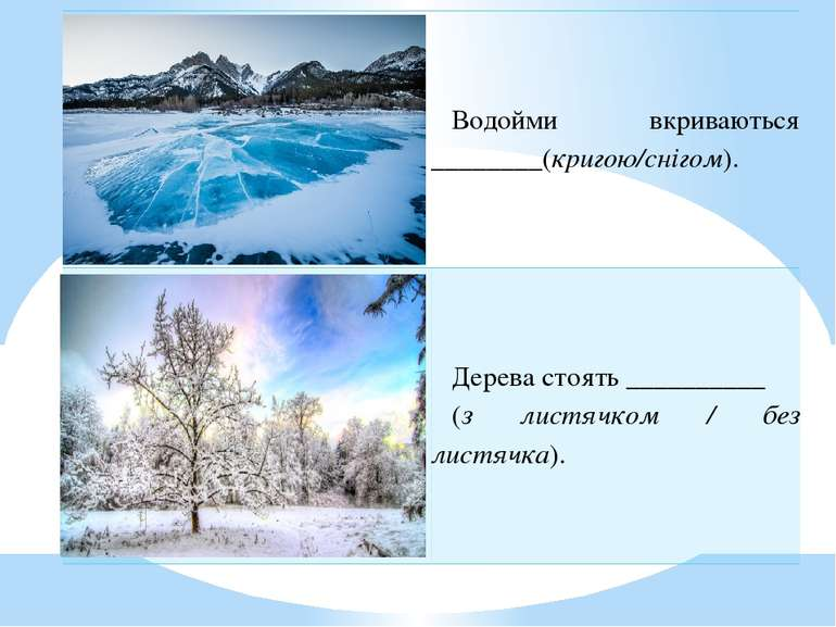 Водойми вкриваються________(кригою/снігом). Деревастоять__________ (злистячко...