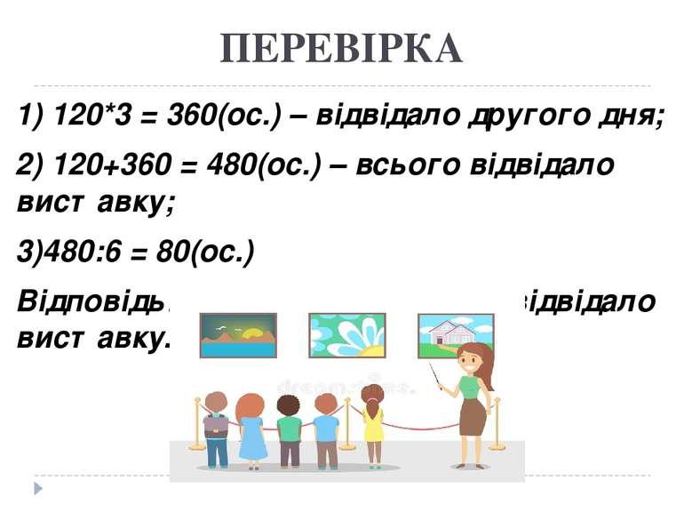ПЕРЕВІРКА 1) 120*3 = 360(ос.) – відвідало другого дня; 2) 120+360 = 480(ос.) ...